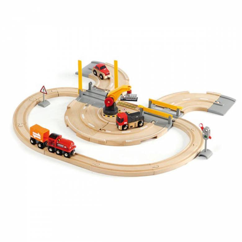 Rail & Road Crane Set BRIO Wooden Railway Age 3+