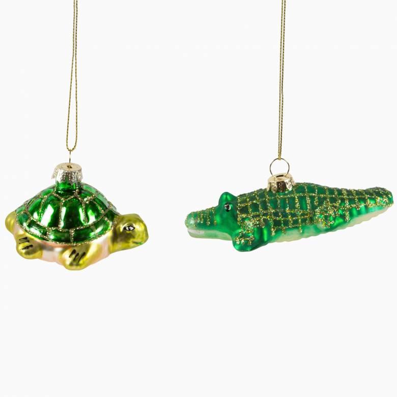 Crocodile or Tortoise Glass Christmas Decoration