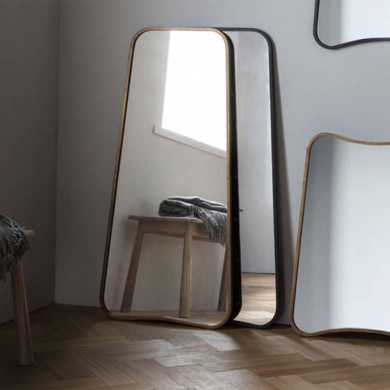 Kurva Black Leaning Wall Mirror