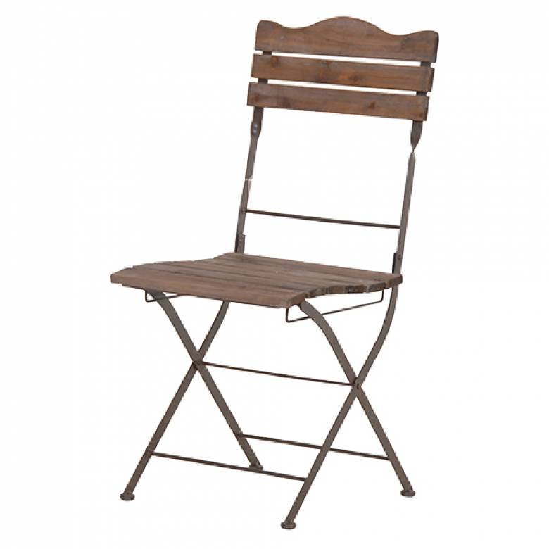 Ex - Display Slatted Wood and Metal frame Folding Garden Chair