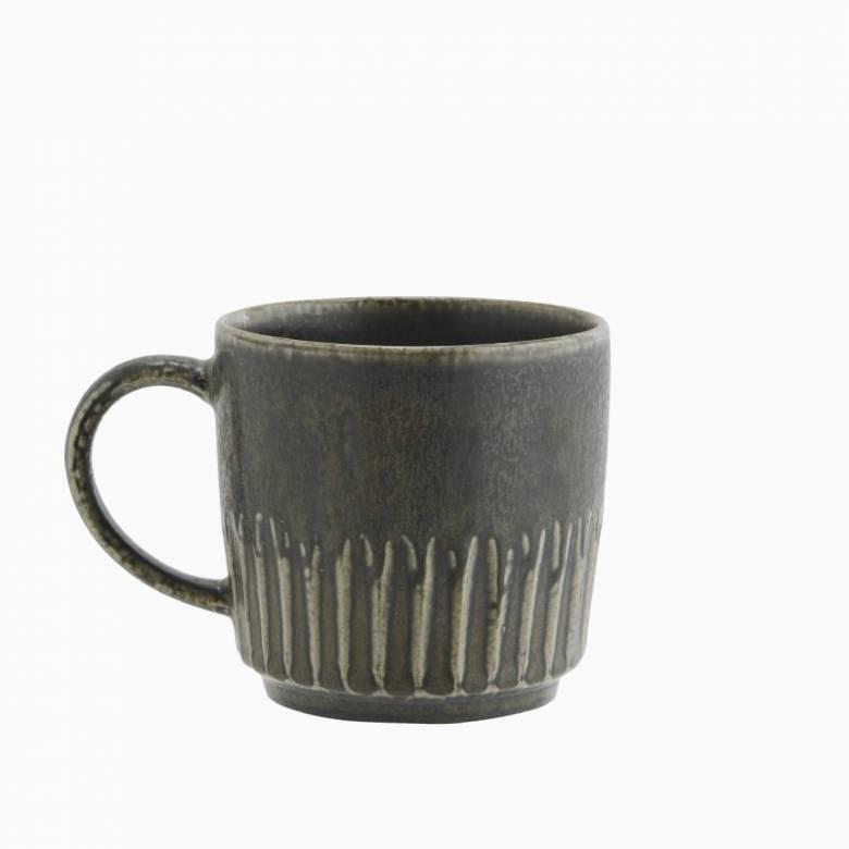 Dark Green Stoneware Mug H:9.5cm