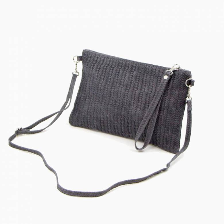 Leather Woven Crossbody Handbag - Dark Grey