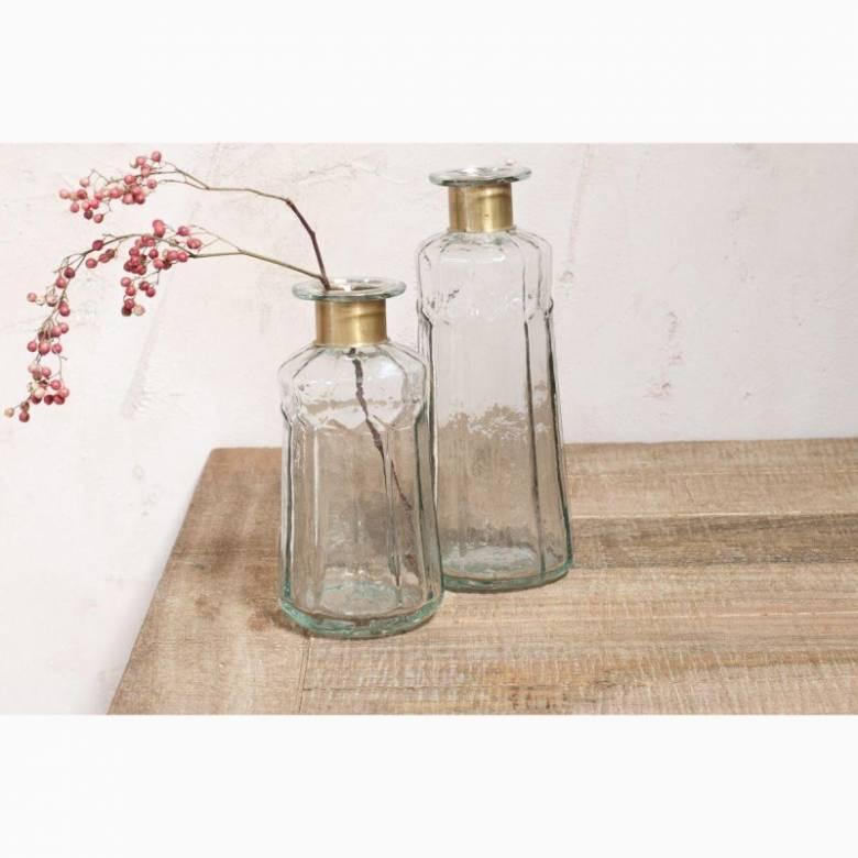 Decorative Large Hammered Glass Bottle H: 23cm
