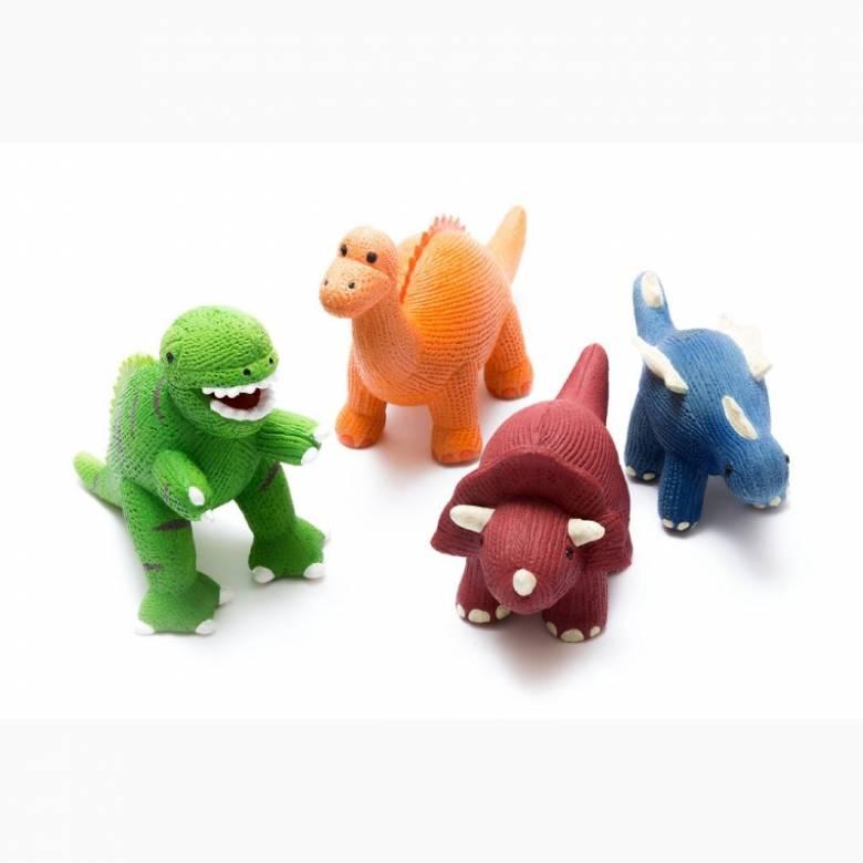 Natural Rubber Orange Diplodocus Dinosaur Bath & Teether Toy 0+