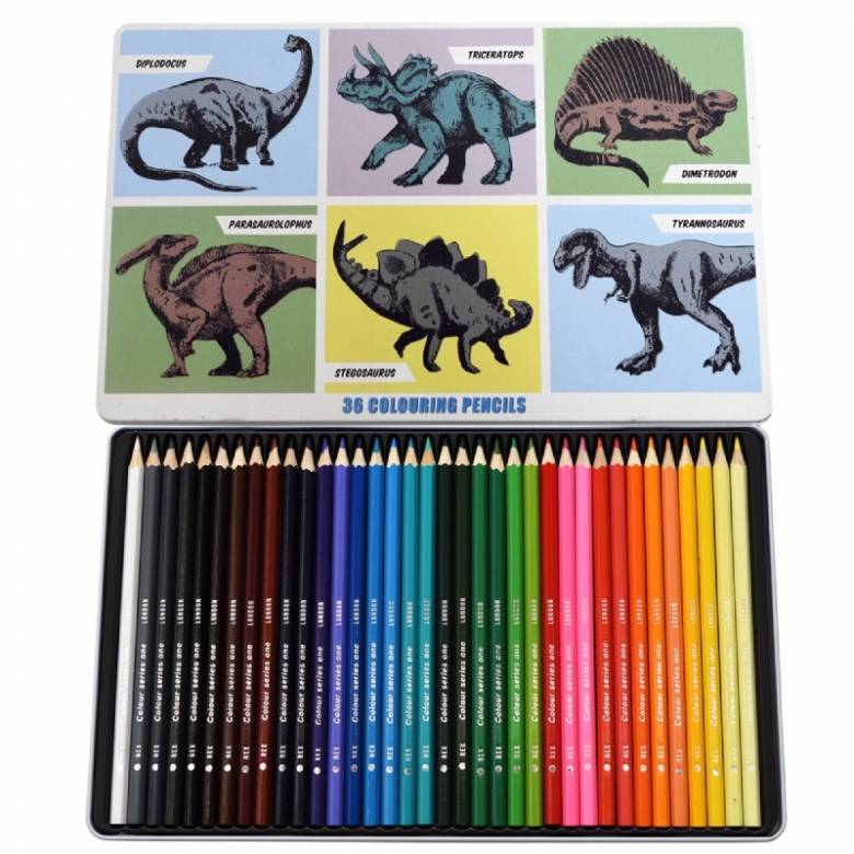 Dinosaurs - 36 Colouring Pencils In A Tin