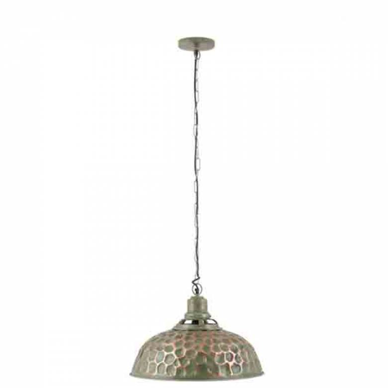 Distressed Green Metal Electrified Pendant Light