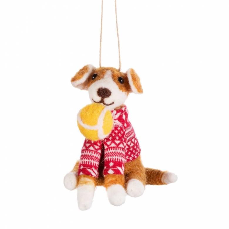 Dog With Ball - Felt Christmas Hanging Decoration