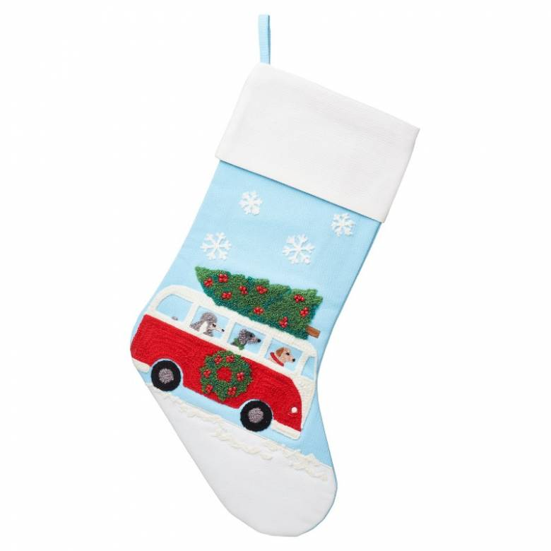 Dogs In Camper Van Embroidered Christmas Stocking