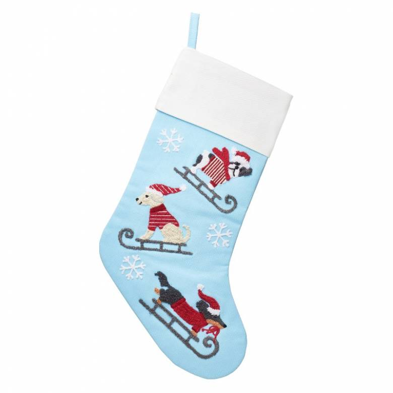 Dogs On Sledges Embroidered Christmas Stocking