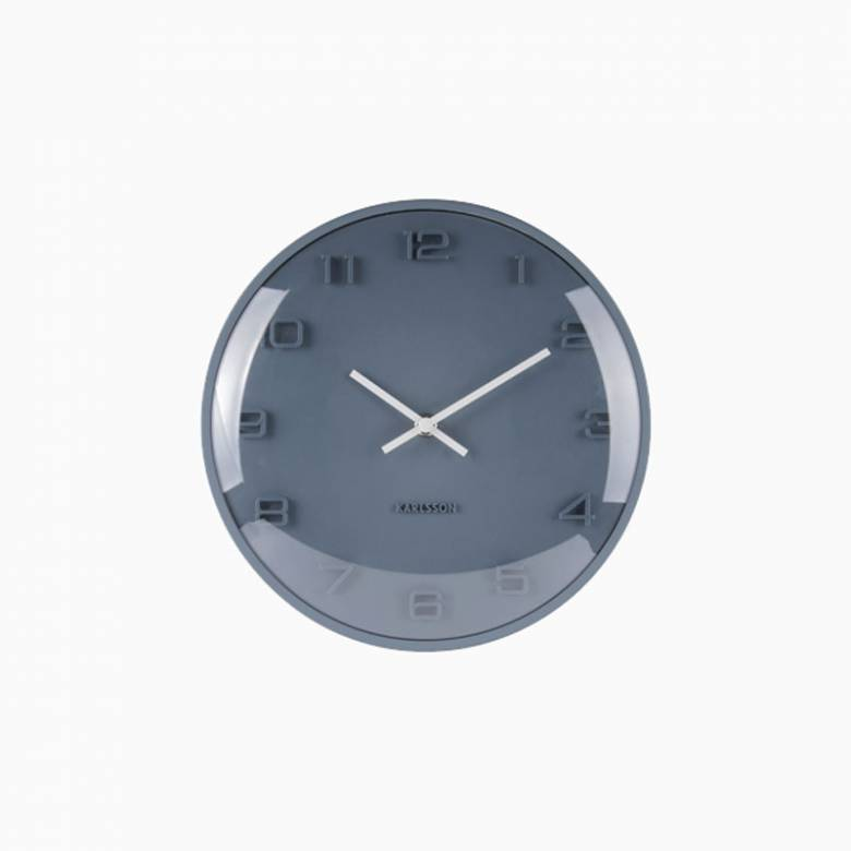 Petrol Blue Elevated Domed Wall Clock 25cm