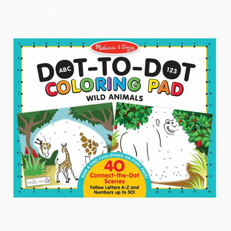 Dot To Dot Colouring Pad - Wild Animals 3+