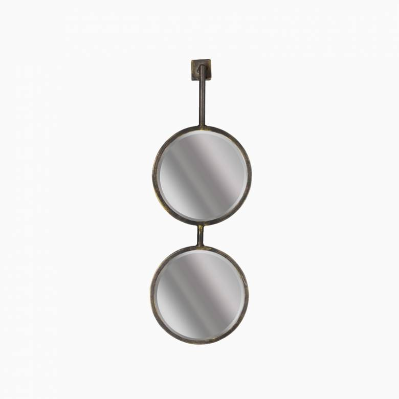Small Chain Double Circles Mirror In Antique Brass