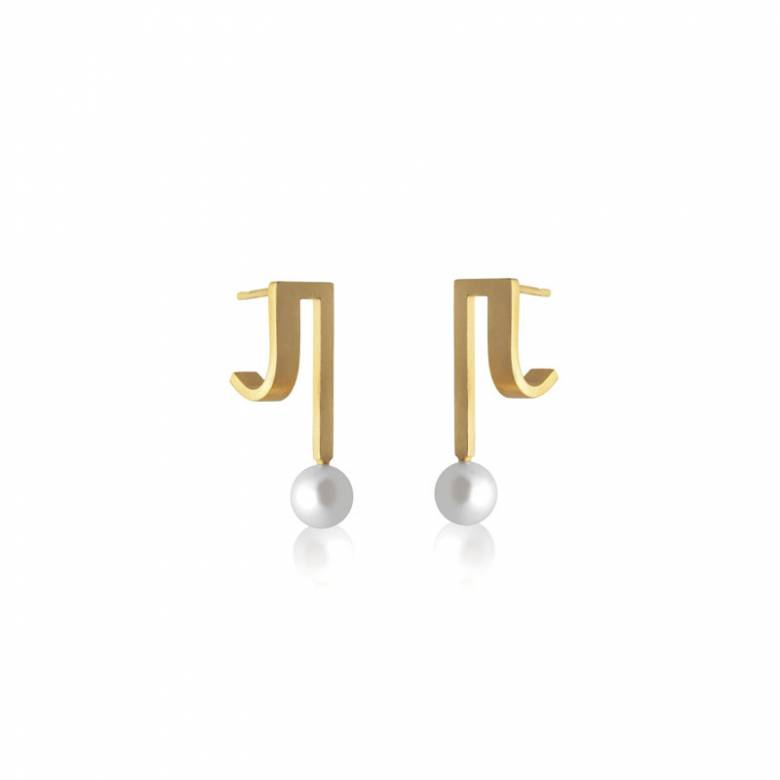 Double Strand Curve Drop Earrings In Gold With Pearl