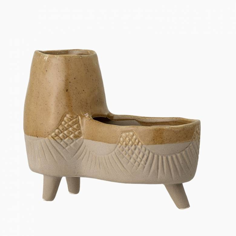 Double Two Tone Stoneware Yellow Flower Pot On Legs