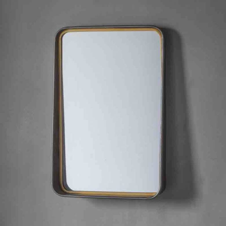The Earl Portrait Mirror - Metal Sloping With Shelf