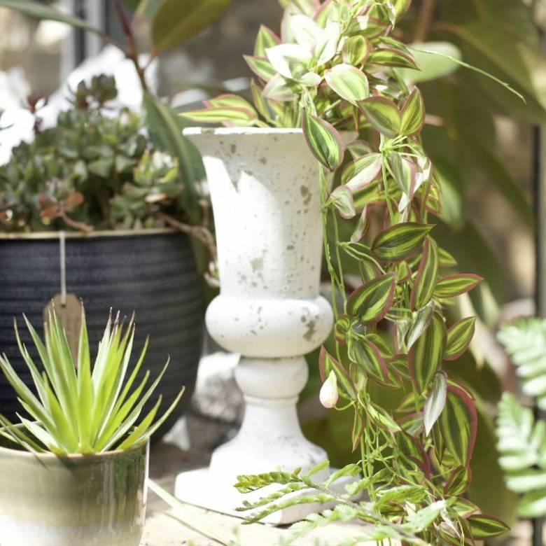 Distressed White Planter H:35cm