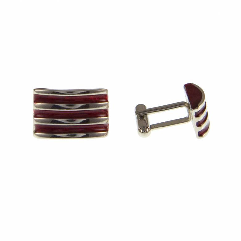 Vintage 1980s Ribbed Red Enamel Metal Cufflinks