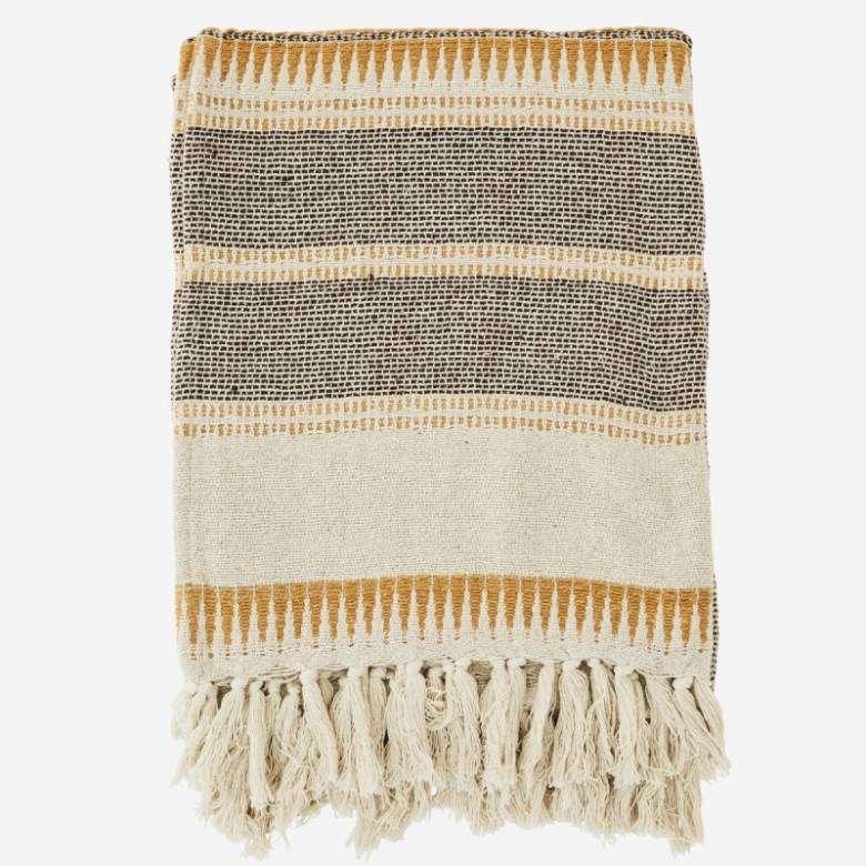 Ecru & Brown Striped Throw Blanket