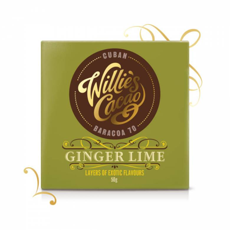 Ginger Lime Dark Chocolate 50g Willie's Cacao