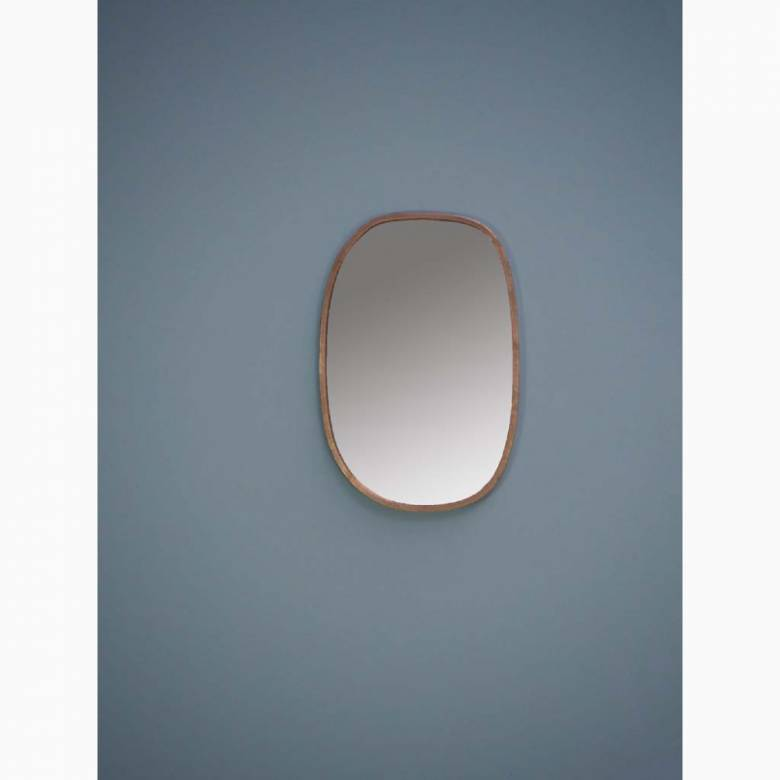 Elae Curved Rectangular Mirror With Gold Frame