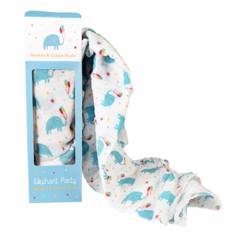 Elephant Print Bamboo Swaddling Blanket