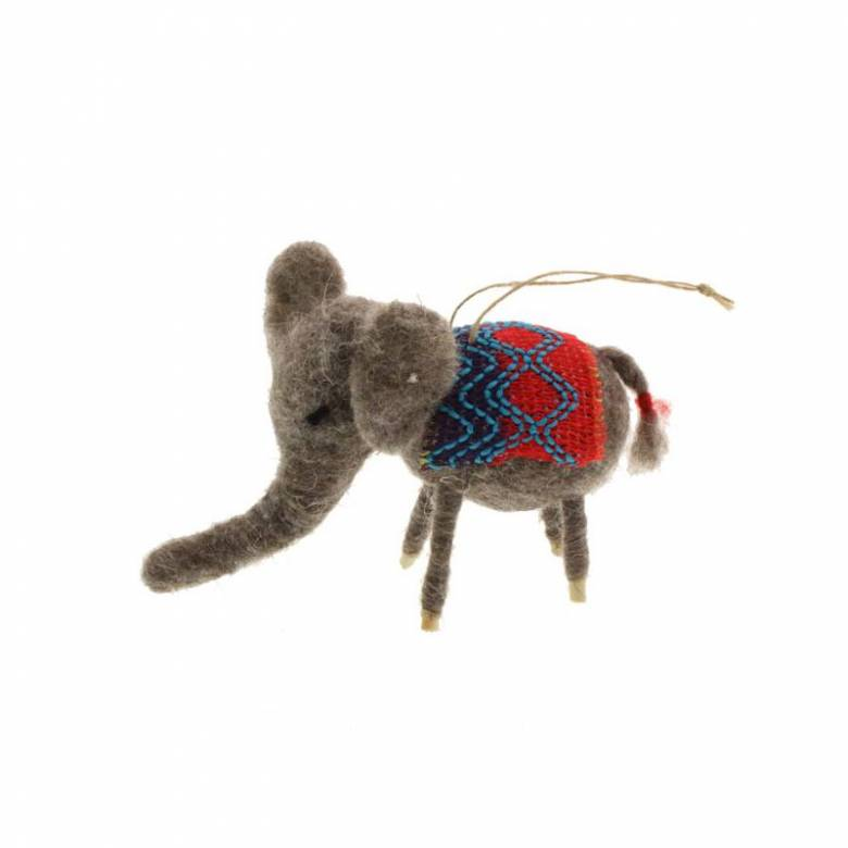 Elephant With Jacket Felt Hanging Christmas Decoration