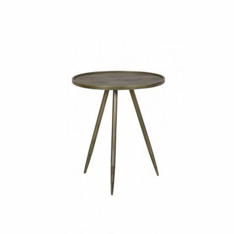 Envira Circular Side Table In Brushed Gold 40x50cm