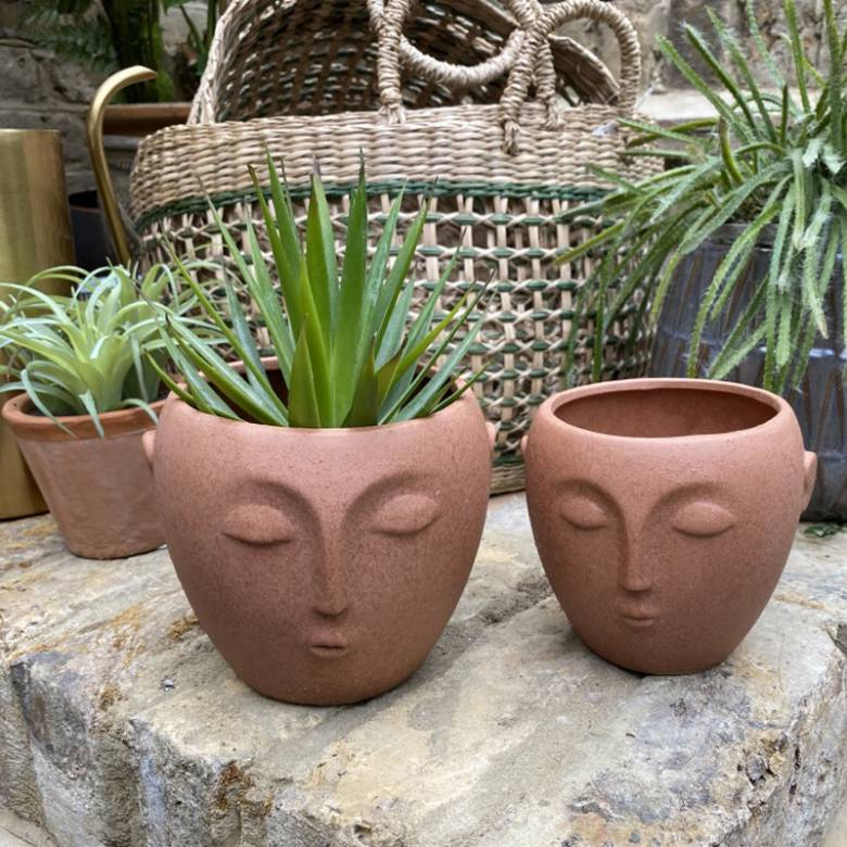 Large Terracotta Flower Pot With Face Imprint