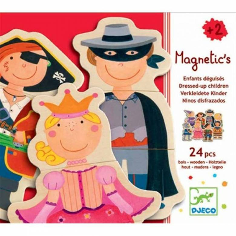 Fancy Children 24 Piece Magnetic Puzzle Figures In Box Djeco 2+