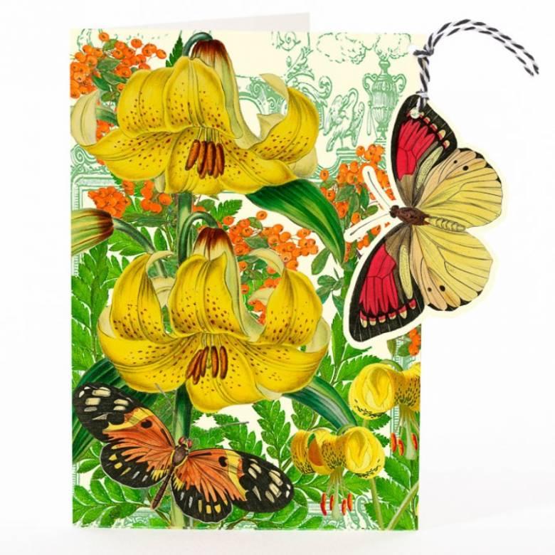 Fandangle Yellow Tiger Lily - Greetings Card