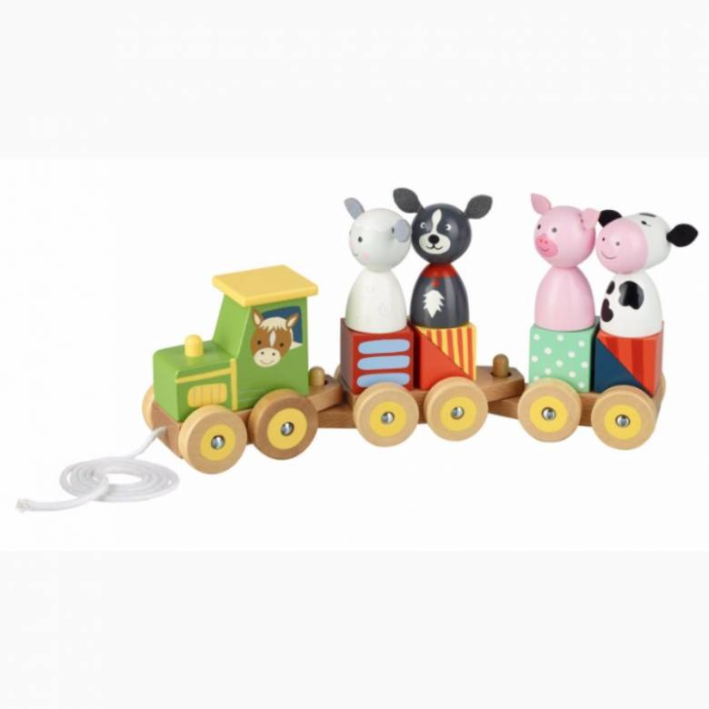 Farm Animal Puzzle Train Wooden Toy 1+