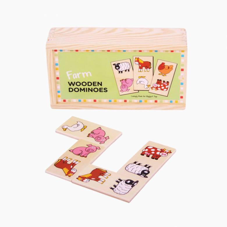 Wooden Childrens Picture Dominoes FARM 1+