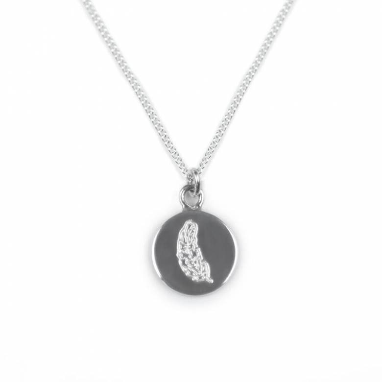 Feather Disc Sterling Silver Necklace