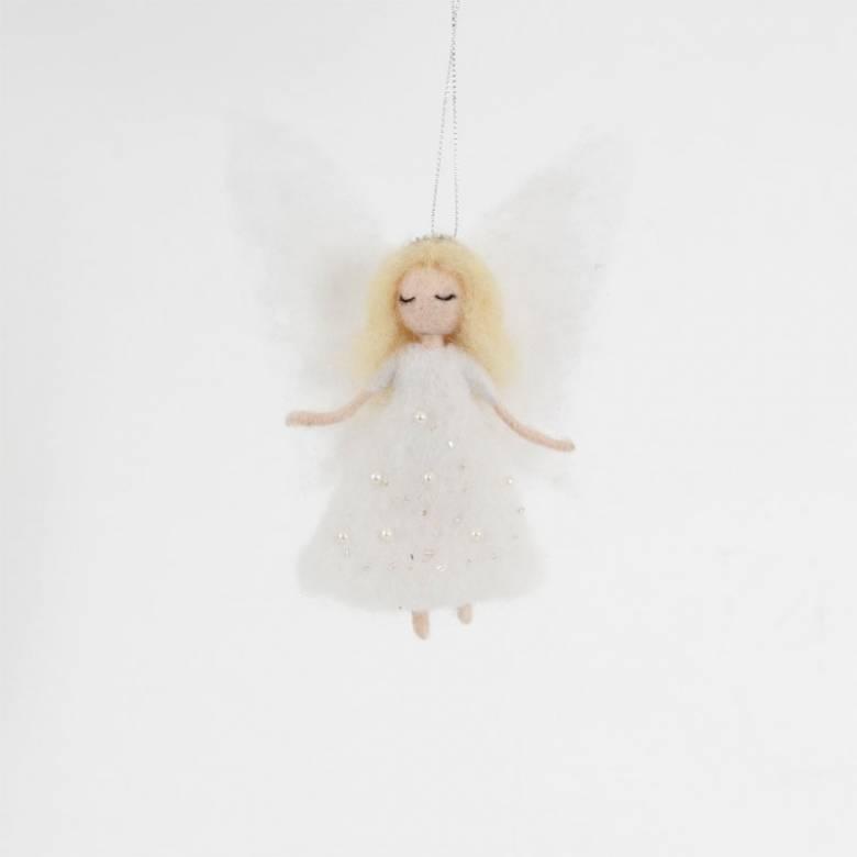 Felt Angel In Sparkly Dress Christmas Decoration