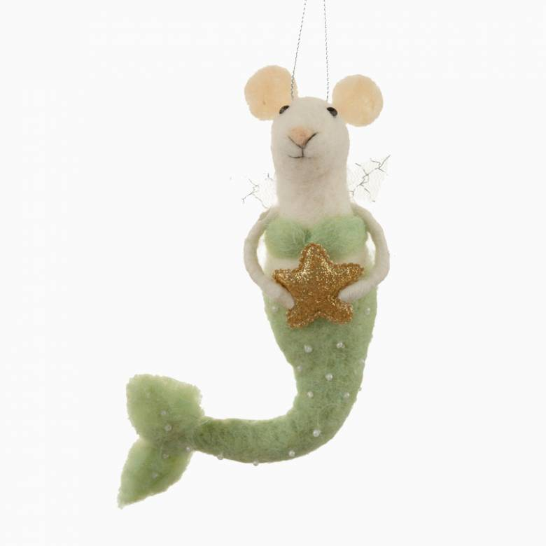Felt Mermouse With Star Christmas Decoration
