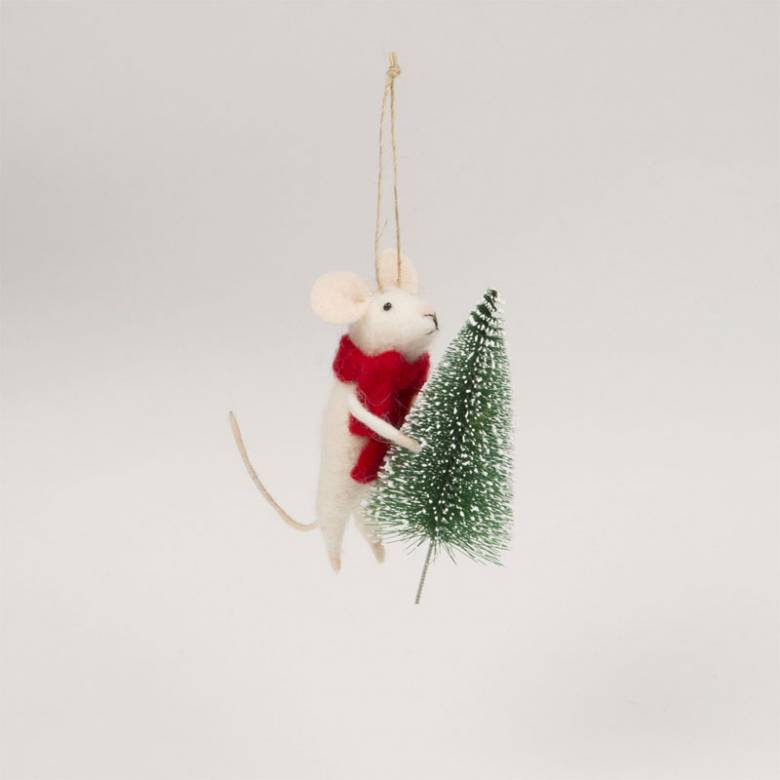 Felt Mouse With Scarf And Tree Christmas Decoration