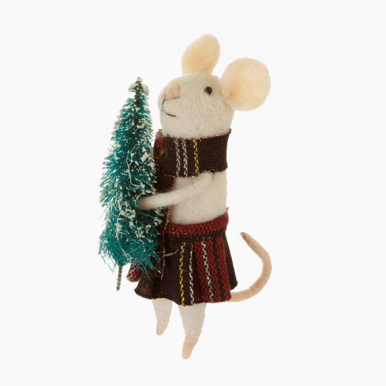 Felt Tartan Mouse With Scarf And Tree Chistmas Decoration