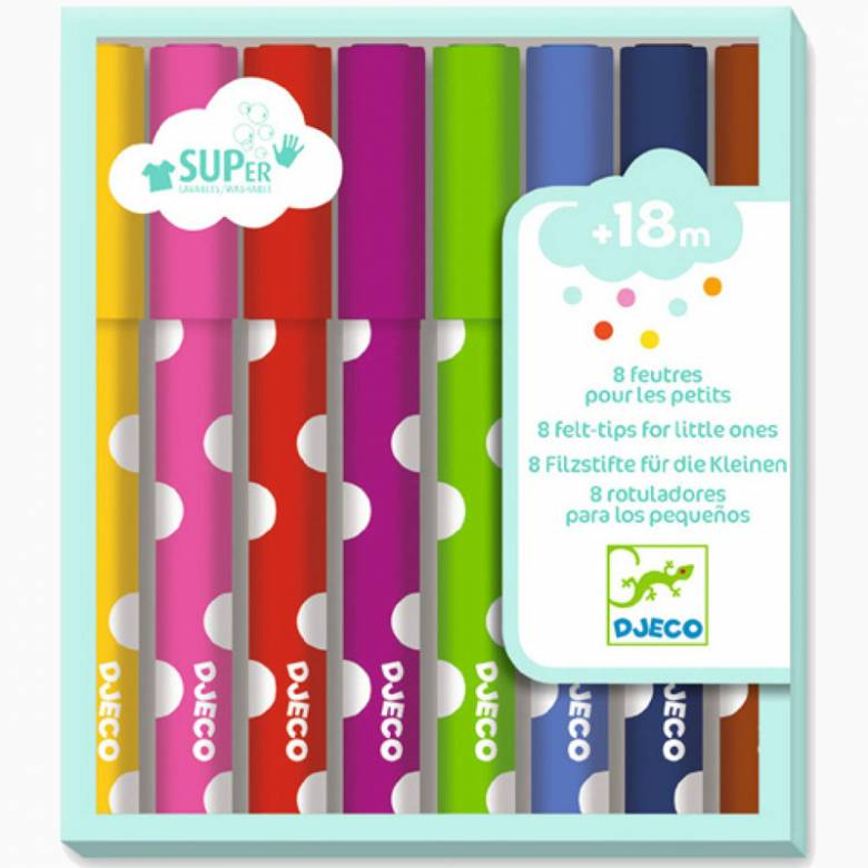 Pack Of 8 Felt Tip Pens For Little Ones 18m+