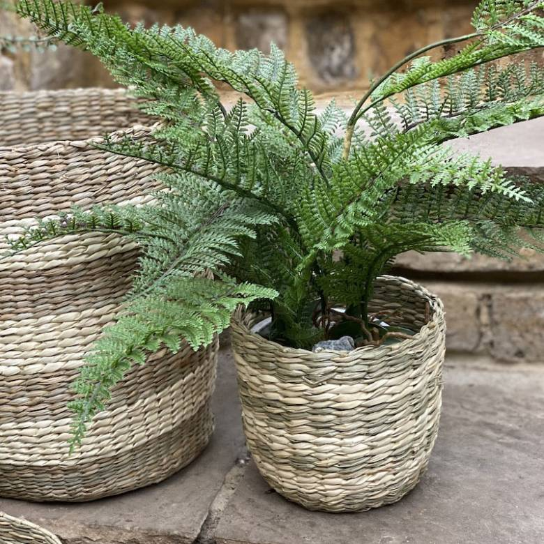 Small Striped Two Tone Striped Basket H:16cm