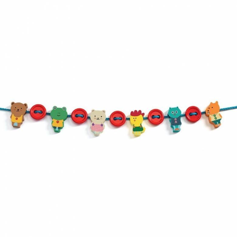 Filabouton Wooden Threading Beads By Djeco 2+