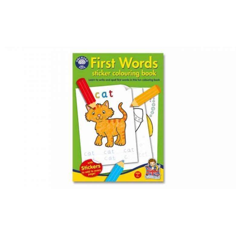 First Words Sticker Colouring Book By Orchard Toys 4+