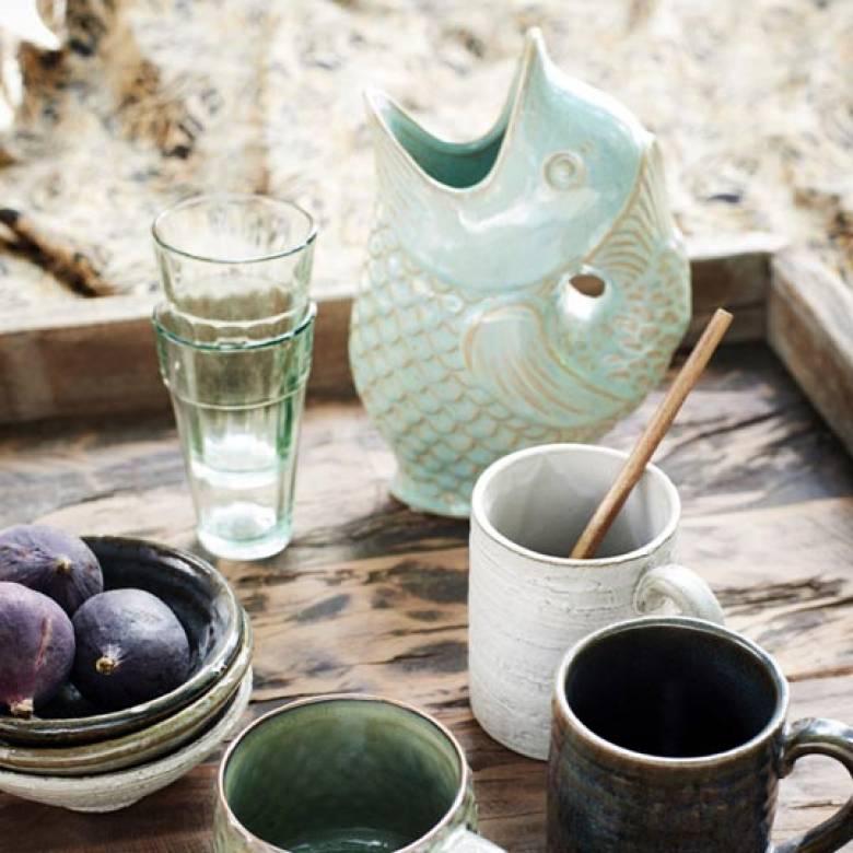 Fish Jug Vase in Sage Green Stoneware