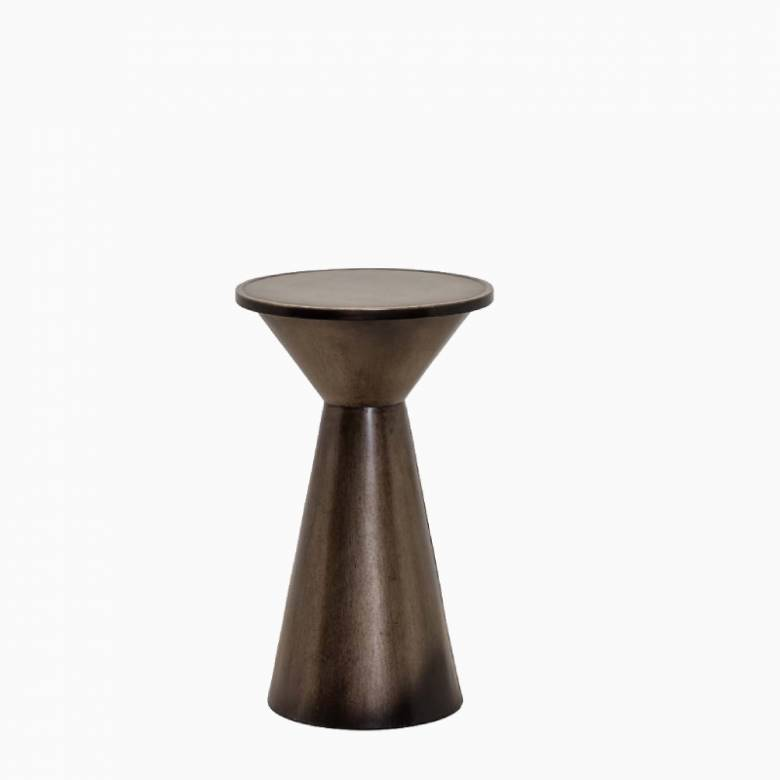 Flared Bronzed Metal Side Table