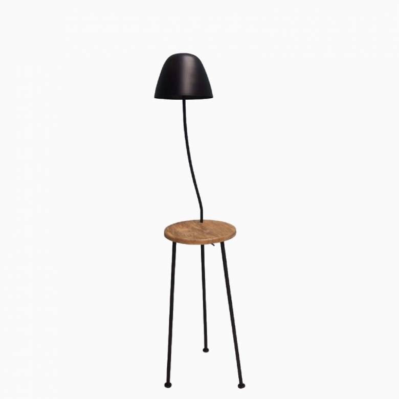 Mushroom Floor Lamp On Tripod Legs With Wooden Shelf