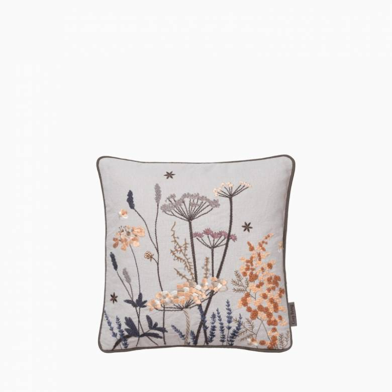 Floral Embroidered Square Cushion In Grey