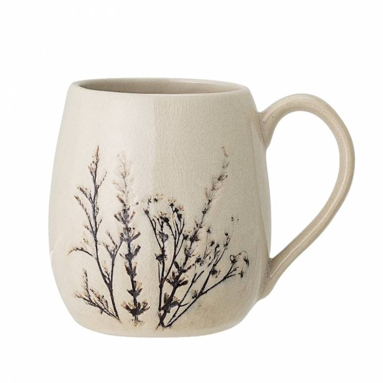 Floral Imprint Stoneware Mug