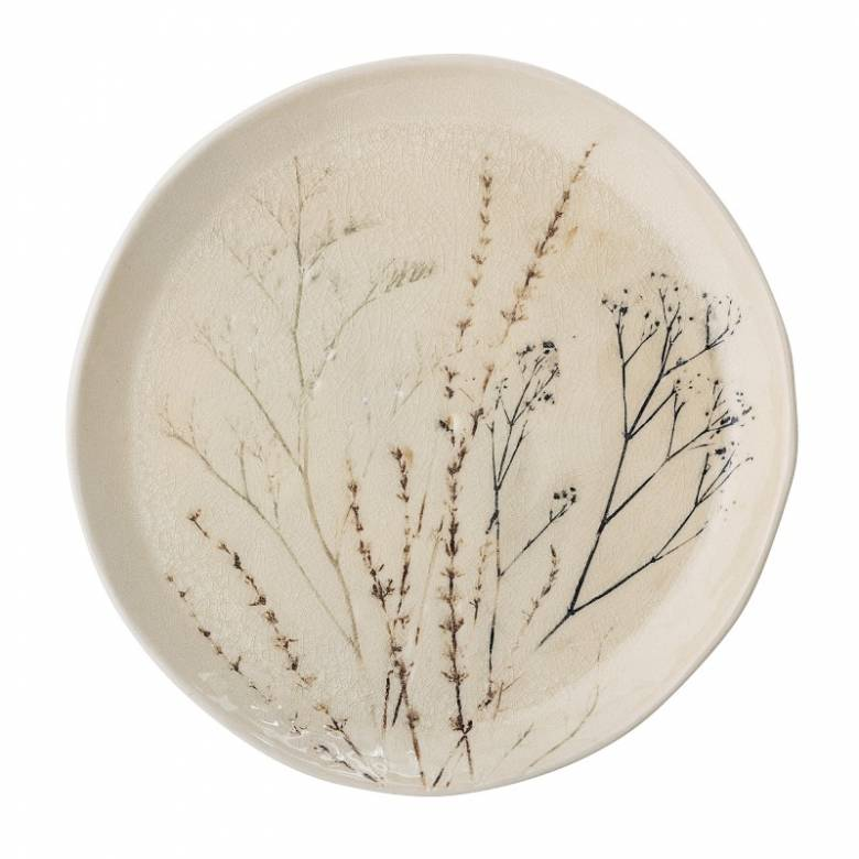 Stoneware Plate With Plant Imprint