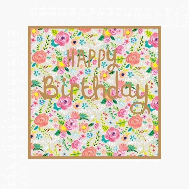 Flowery Happy Birthday - Greetings Card
