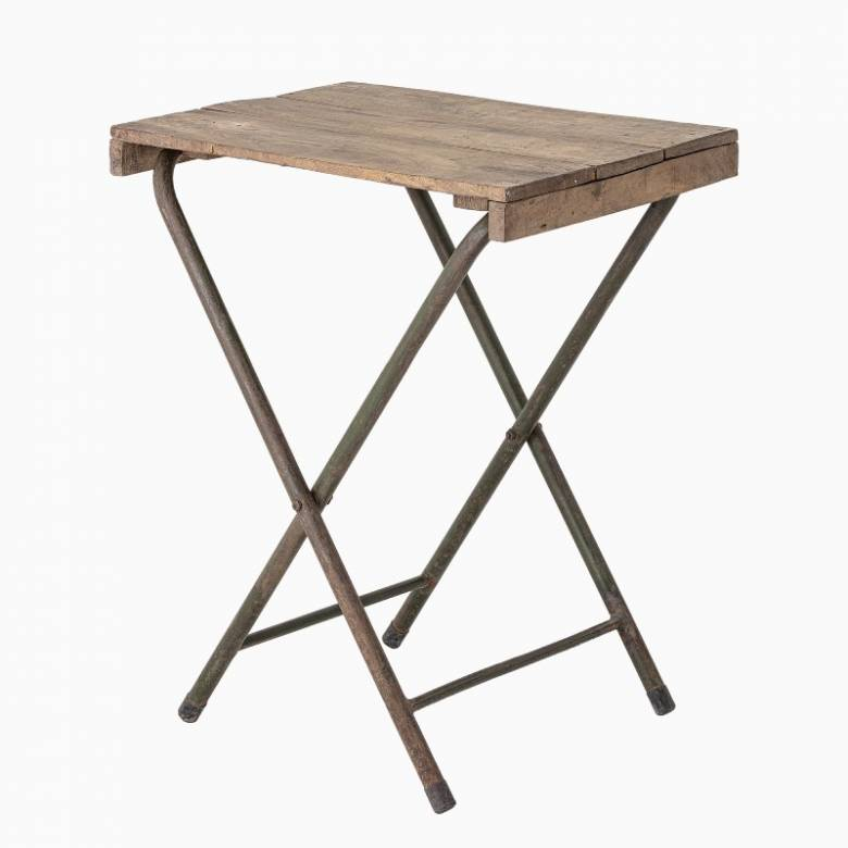 Folding Wooden Side Table With Metal Frame