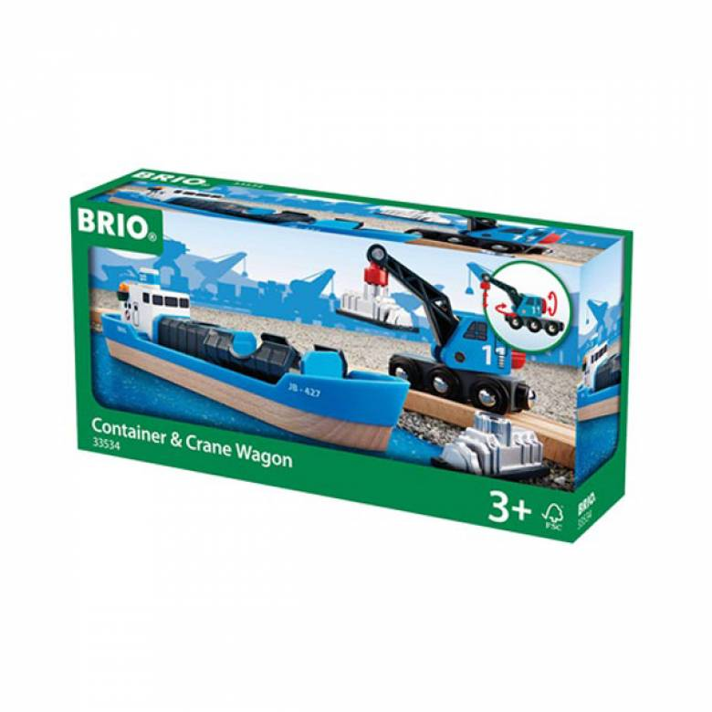 Freight Ship and Crane  BRIO Wooden Railway  Age 3+